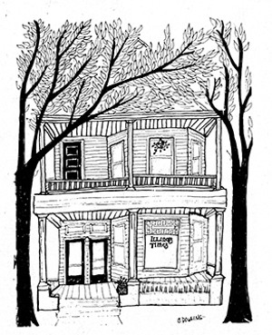 The first home of Illinois Times, at 512 S. Eighth Street, now demolished, where Jim Krohe's column began. - DRAWING BY CLAUDIA DOWLING