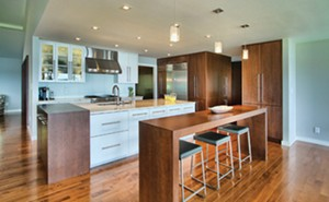 """A modern """"commercial"""" kitchen with a range hood."""