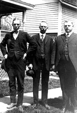 Rochester natives, from left, Clarence, Ira F. and Frank Twist moved to the tiny community of Twist, Arkansas, in the early 1900s. Together, they became the second largest cotton producers in the United States. - PHOTO COURTESY OF TERRY TWIST, MIKE TWIST, JEAN BRICKEY, AND CHRISTINE CARY