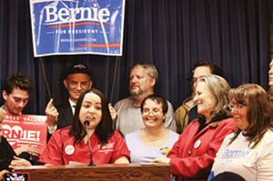 Adriana Sanchez of National Nurses United speaks at the press conference to announce Bernie Sanders joining the Illinois Democratic presidential primary ballot. - PHOTO BY PATRICK YEAGLE