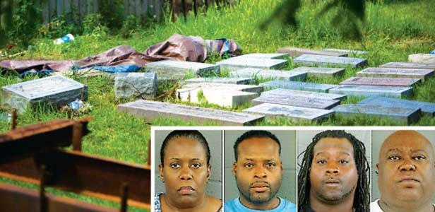 Inset left to right: Former cemetery manager Carolyn Towns, grounds foreman Keith Nicks, dump truck operator Terrence Nicks, and backhoe operator Maurice Dailey have been arrested in connection with a gruesome grave recycling scheme at a historically blac - MAIN PHOTO BY ZBIGNIEW BZDAK/MCT