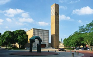 "Completed in 1942, the First Christian Church created a dramatic impact on Columbus. Designed by architect Eliel Saarinen, it was the first contemporary building in Columbus. ""Large Arch,"" across the street in the library plaza, was created by - PHOTO COURTESY OF THE COLUMBUS AREA VISITORS CENTER."