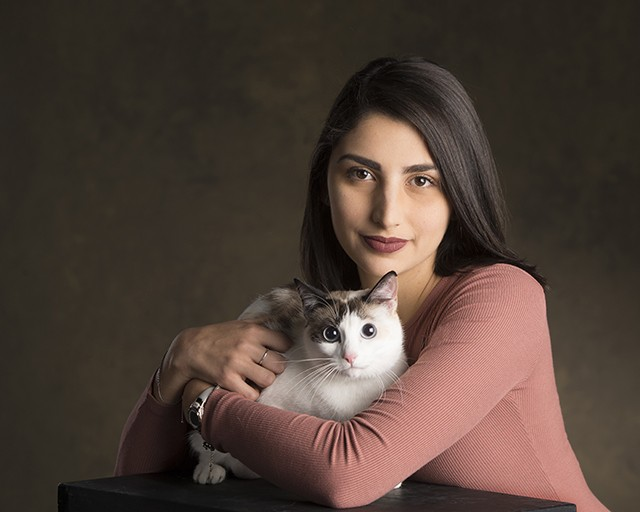 """Ana Espinosa, WICS   """"I got her from a shelter in Orlando, Florida. When I got her, she was completely white. Lumi means 'snow' in Finnish. One of the things I love most about Lumi is that she can play fetch. During this time of year, s"""