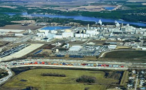 Seen from above, ADM's Intermodal Ramp, center, offers local businesses access to international markets. - PHOTO COURTESY ADM