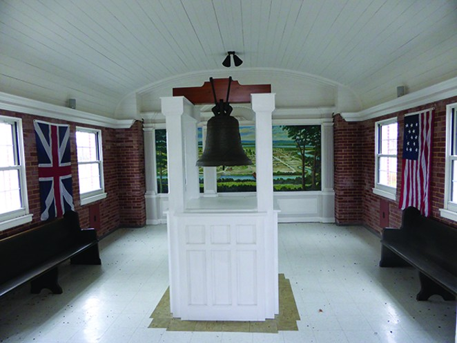 """The """"Liberty Bell of the West"""" is on display at the Kaskaskia Bell State Memorial on Kaskaskia Island in southwestern Illinois. King Louis XV of France gave the bell to early Catholics in the Illinois Country in the mid-1700s."""