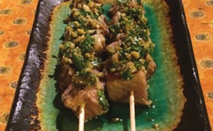 Grilled tuna kebabs with green olive sauce - PHOTO BY PETER GLATZ