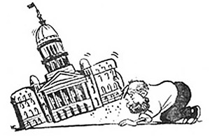 "Former Illinois Times cartoonist Mike Cramer penned this portrait of Rich Miller sometime in the early 1990s. ""He's looking at the underside of the Capitol like a kid looks under a log searching for slugs and bugs,"" says Cramer, who is now an at - ILLUSTRATION BY MICHAEL CRAMER"