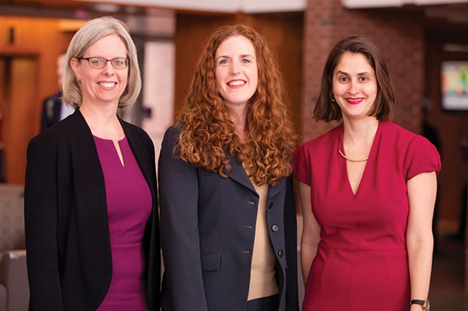 The U of I legal scholars who wrote the new paper on restorative justice for sexual harassment are, from left, Jennifer Robbennolt, the associate dean for research at the College of Law and co-director of the Program on Law, Behavior, and Social Science; - PHOTO BY L. BRIAN STAUFFER