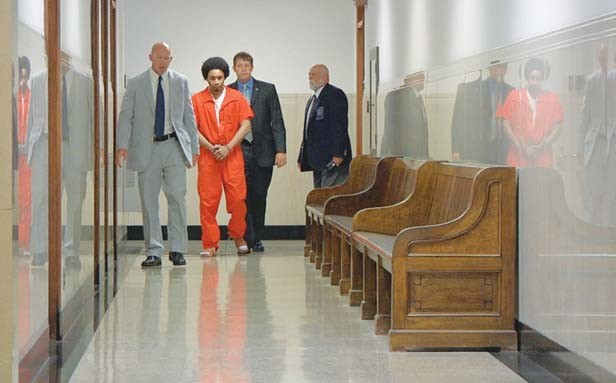 Iowa prison officials escort Maurice Haltiwanger as he awaits sentencing for a drug conviction. The House I Live In follows Haltiwanger and others involved with the War on Drugs and shows the profound effects drug laws have had on society.