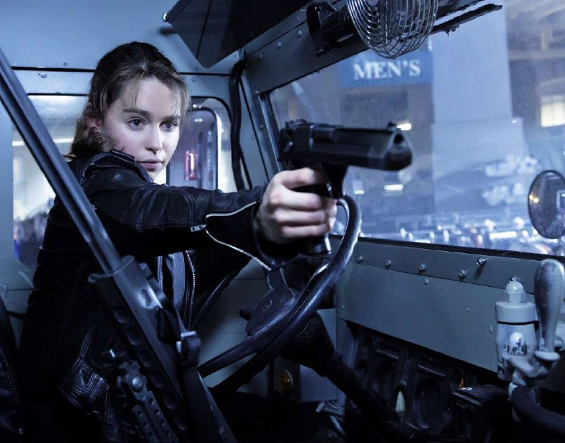 """Sarah Conner (Emilia Clarke) shoots first and asks questions later in """"Terminator Genisys."""" - COURTESY PARAMOUNT PICTURES"""