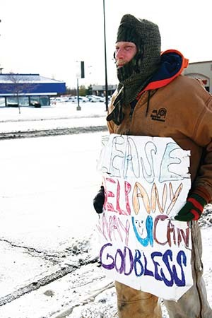 Don Norton panhandles in Springfield. - PHOTO BY PATRICK YEAGLE