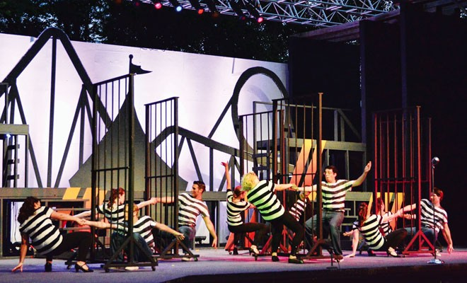 "Featured dancers perform ""Jailhouse Rock,"" the show's opening number. - PHOTO BY DONNA LOUNSBERRY"