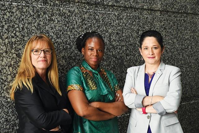 Anti-Harassment, Equality, and Access panel members, left to right, State Senator Melinda Bush, State Representative Carol Ammons, Illinois Comptroller Susana A. Mendoza. - PHOTO COURTESY OF ANTI-HARASSMENT, EQUALITY, AND ACCESS PANEL