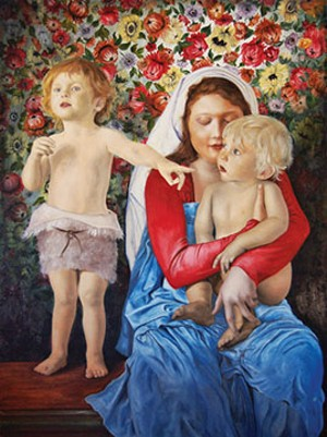 """Christ, Mary and John the Baptist"" by Paul Jurgens of Springfield is on exhibit at Springfield Art Association."