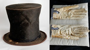 The collection includes gloves that Lincoln wore to Ford's Theater and a hat that has had its provenance questioned.