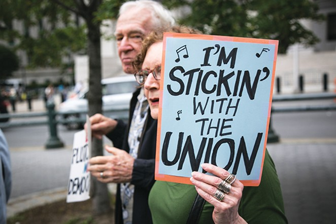 Union activists and supporters in New York City rally June 27 against the Supreme Court's ruling in the Janus v. AFSCME case. - PHOTO BY KARLA ANN COTE/NURPHOTO/SIPA USAW