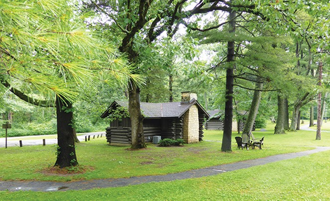 White Pines Forest State Park near Oregon, Illinois, offers log cabins. a historic restaurant and a dinner theater in a relaxing setting beneath towering white pines.