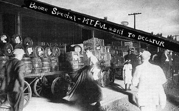 """During Prohibition Mt. Pulaski stayed """"wet,"""" with trains bringing customers to the town's 13 saloons from Springfield, Decatur and Champaign. - PHOTO COURTESY MPTHS MUSEUM"""