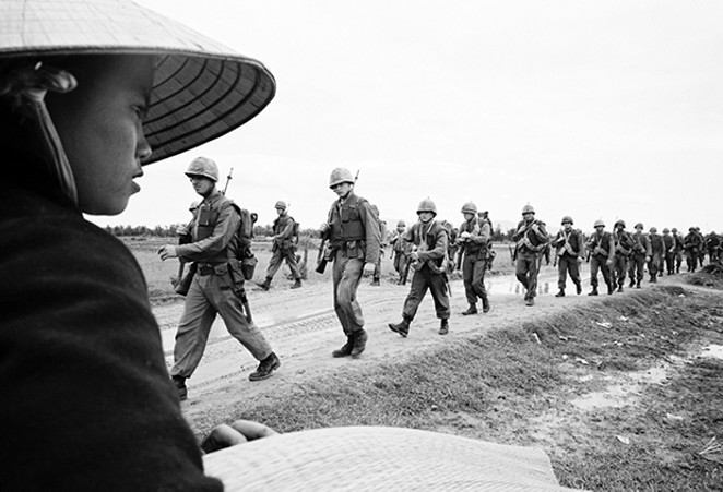Marines marching in Danang. March 15, 1965. - COURTESY OF ASSOCIATED PRESS