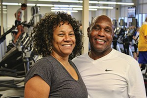 "Linda and Leonard Shanklin stay fit together so they can be the ""coolest grandparents ever"" and travel nationwide to see their son, Andre Iguodala, play basketball. - PHOTO BY JENNIFER SNOPKO, SPRINGFIELD, YMCA"