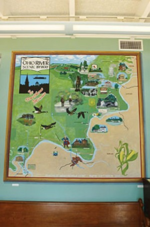 A painting at the Ohio River Visitors' Center in Equality, Illinois, highlights interesting places to visit along the scenic byway from Shawneetown to Cairo. The center is open April through October and offers maps, brochures and short videos about - PHOTO BY BRENT BOHLEN