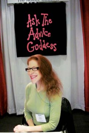 Amy Alkon at her booth at the Association of Alternative Newsweeklies convention in Toronto earlier this month.  Her column appears in more than 100 newsweeklies. - PHOTO€ˆBY€ˆSHARON€ˆWHALEN