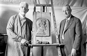 This photo from the Library of Congress shows Osborn Oldroyd (on the right) with sculptor Ulric S. J. Dunbar in 1924, six years before Oldroyd's death. - PHOTO COURTESY OF THE LINCOLN HOME NATIONAL HISTORIC SITE