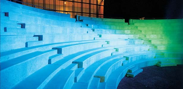 The outside amphitheatre — designed as a Greek-style setting — plays host to music and productions on summer evenings.