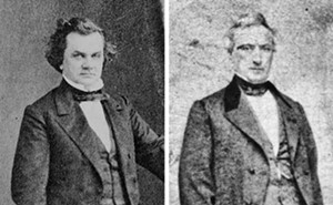 Stephen A. Douglas (left) and John T. Stuart's (right) fight for Congress turned physical at a debate in Springfield during the summer of 1838.
