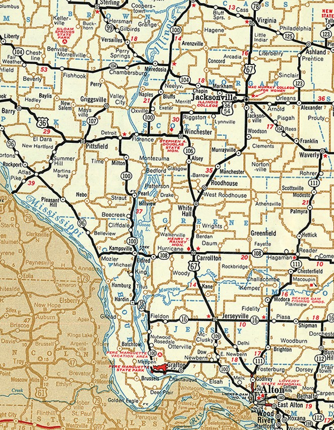 The lower Illinois valley includes Calhoun County, at lower left on the map. The county is a peninsula between the Illinois River and the Mississippi River. Calhoun has a ferry and an archaeological museum, but has no railroads and no traffic lights. - MAP COURTESY ILLINOIS DIGITAL ARCHIVES (ILLINOIS STATE LIBRARY/OFFICE OF SECRETARY OF STATE)