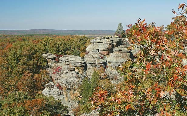 The Garden of the Gods in the Shawnee National Forest, about 50 miles from Benton. George Harrison, his sister Louise, and their brother Peter camped here in the late summer of 1963. The author contends that Harrison took a bit of southern Illinois back o - PHOTO BY WILLIAM FURRY