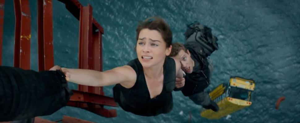 "Sarah (Emilia Clarke) and Kyle (Jai Courtney) make a narrow escape in ""Terminator Genisys."" - COURTESY PARAMOUNT PICTURES"