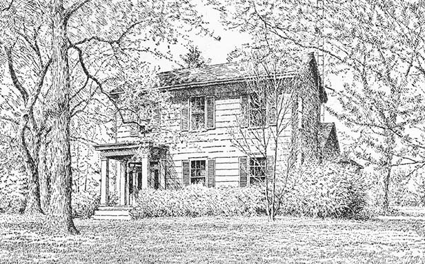 Spaulding Orchard farmhouse was built in the 1830s and has been Glatz's home for 30 years. - ILLUSTRATION BY WM. CROOK