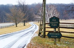 "A sign marks the entrance to Old Gillett Farm, a seventh-generation family farm still owned by descendents of John Dean Gillett, once known as ""Cattle King of the World."""