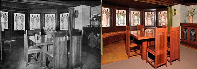 The 1911 Wasmuth black and white photos (left) helped restorers determine decor and furniture placement. Seen here is the dining room with its sumac art glass. - COLOR PHOTO BY DOUG CARR