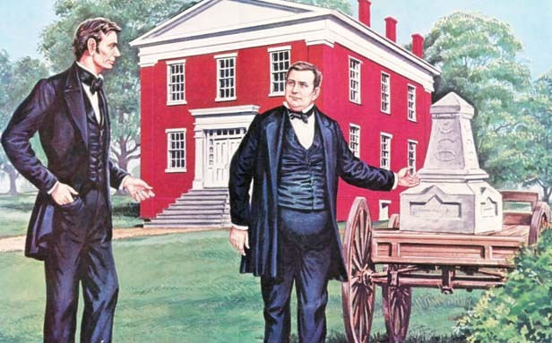 Abraham Lincoln represented the defendant in the 1854 Cast-Iron Tombstone Trial at the Mt. Pulaski courthouse. Lincoln lost the case, which was presided over by Judge David Davis, right, who Lincoln would later appoint to the U.S. Supreme Court. - ILLUSTRATION CREDIT LLOYD OSTENDORF FAMILY