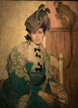 Woman with a Monkey is a self-portrait by Artist Ethel Mars.