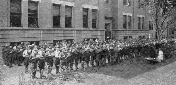 A World War I army unit temporarily housed at the Hay-Edwards School. - PHOTOS PROVIDED BY SANGAMON VALLEY COLLECTION