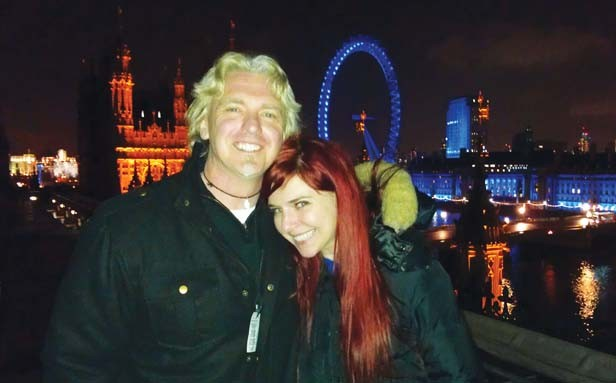 Nick and Marina atop Parliament in London