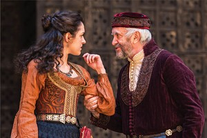 Phoebe Pryce as Jessica and Jonathan Pryce as Shylock in the Shakespeare's Globe production of The Merchant of Venice, directed by Jonathan Munby, featured at Chicago Shakespeare Theater as part of Shakespeare 400 Chicago, Aug. 4–14. - PHOTO BY MANUEL HARLAN.