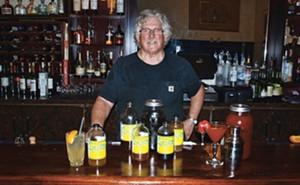 Chef Michael Higgins of Maldaner's restaurant with many shrub options. - PHOTO BY DAVID HINE
