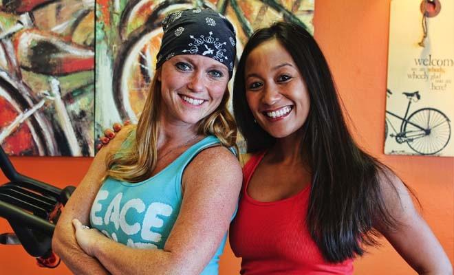 Spinzone Instructors Kristi Mitchell and Emily Barnardes - PHOTO COURTESY SPINZONE