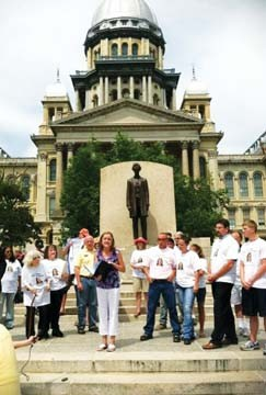 Michelle Weidner (middle) speaks out in support of the release of Pamela Jacobazzi during a protest  outside the Illinois Statehouse on Saturday, June 23. - PHOTO COURTESY OF SUSAN THANETOHN