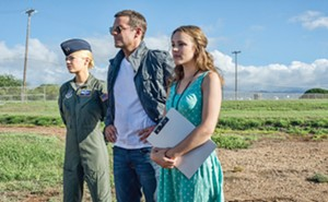 Bradley Cooper as Brian Gilcrest, Emma Stone as Allison Ng and Rachel McAdams as Tracy Woodside in Aloha. - PHOTO COURTESY COLUMBIA PICTURES