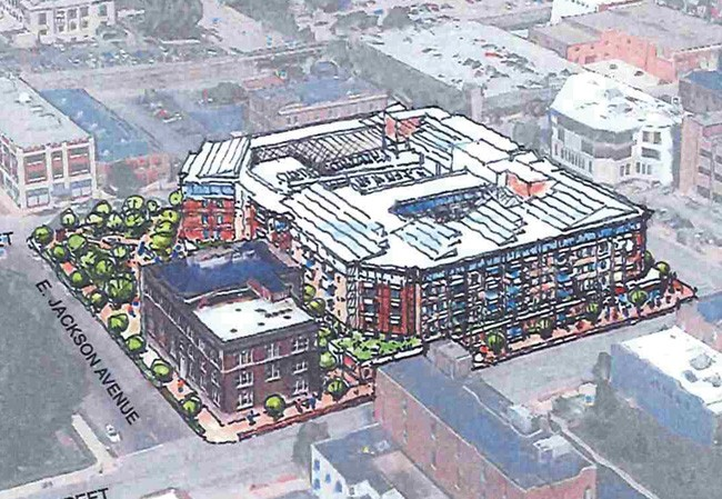 An aerial view of the proposed Flaherty & Collins development, with the existing YWCA at bottom left. - COURTESY FLAHERTY & COLLINS PROPERTIES