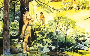 """Attack on an Oneota Village,"" from the collection of the Illinois State Museum. - ILLUSTRATION BY ANDY BUTTRAM"