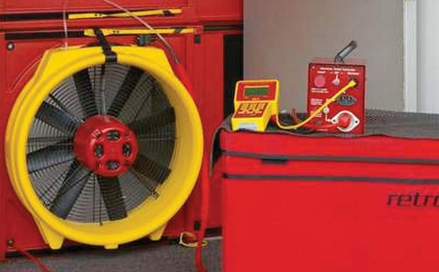 A professional blower door test provides readings on air leaks into a home.