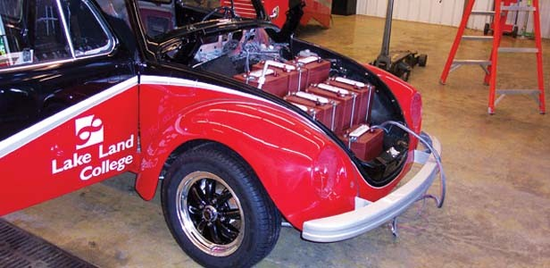 """The """"Lightning Bug"""" is a 1972 Volkswagen super beetle that Lake Land students and teachers converted from gas to electric. The car, which now runs on an electric motor, is one of the alternative energy teaching tools used as part of the college's campus-w"""