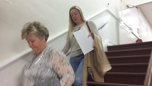 Accompanied by her mother Debbie Webster, left, Jennifer Watkins leaves the courtroom after giving up a custody fight for her daughter Sidney.