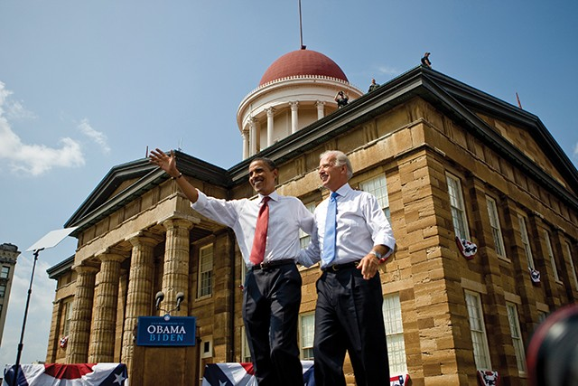 Barack Obama introduces his running mate at the Old State Capitol, Aug. 23, 2008.